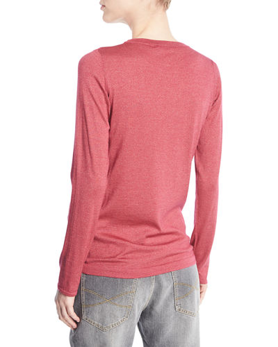 Crewneck Long-Sleeve Cashmere-Blend Knit Pullover