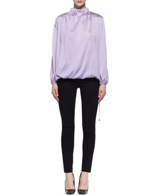 Shirred Silk Mock-Neck Top