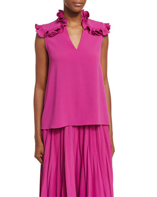 Image 1 of 2: Ruffle-Shoulder Crepe Top