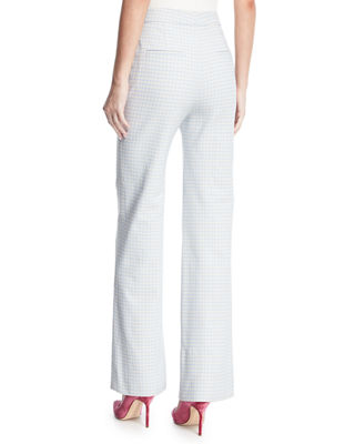 Image 3 of 4: Pamela Gingham Wide-Leg Suiting Pants