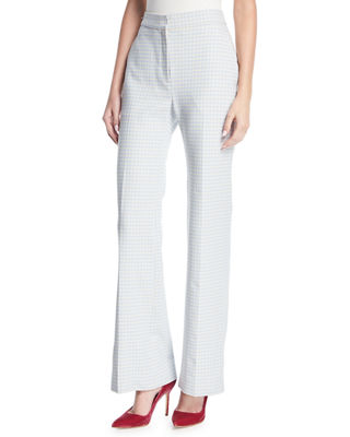 Image 1 of 4: Pamela Gingham Wide-Leg Suiting Pants