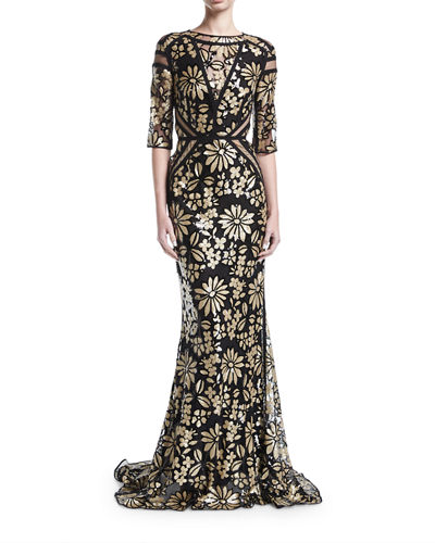 Northway Daisy-Sequined 3/4-Sleeve Evening Gown