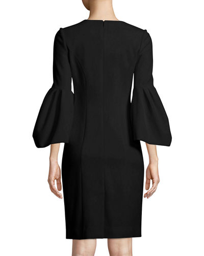 Blouson-Sleeve Cocktail Sheath Dress