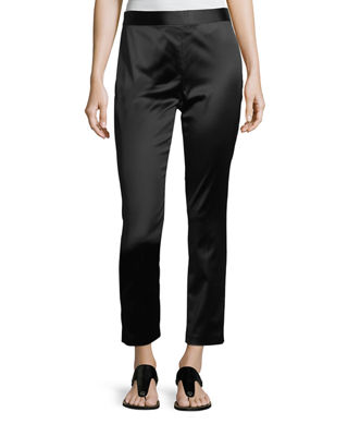 Rosetta Getty Satin Straight-Leg Trousers