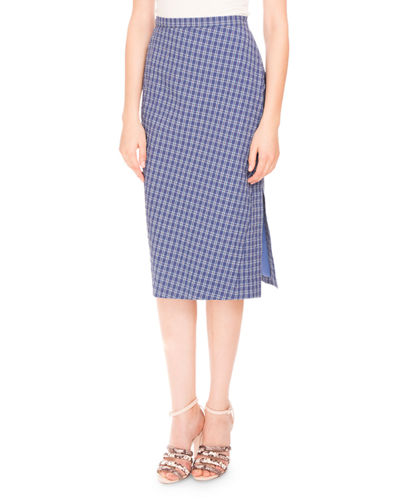 Altuzarra Tubino Seersucker Pencil Skirt, Provence Blue