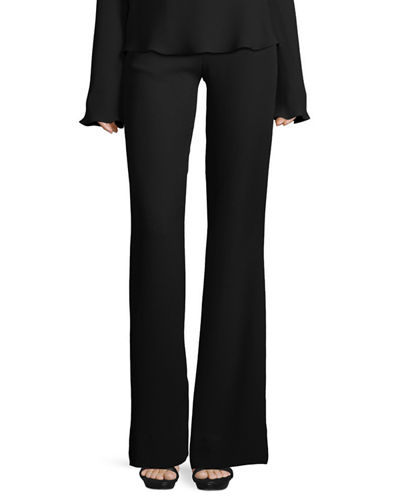 Brandon Maxwell High-Waist Crepe Flare Pants and Matching