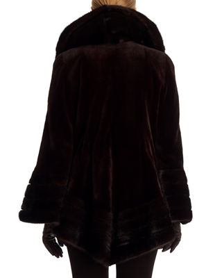 Image 2 of 2: Sheared Mink Fur Stroller Coat