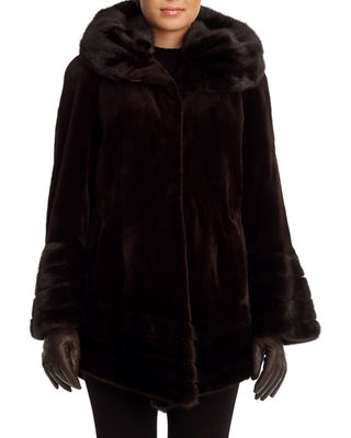 Image 1 of 2: Sheared Mink Fur Stroller Coat