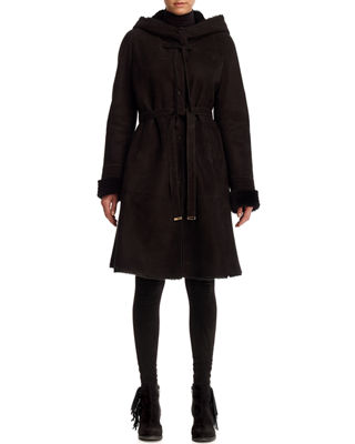 Image 1 of 2: Shearling Lamb Reversible Parka Coat with Perforated Hood & Cuffs
