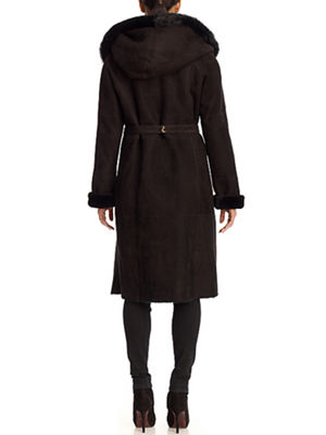 Hooded Shearling Lamb Coat with Suede Belt