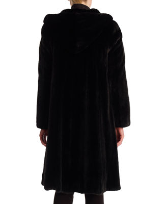 Image 2 of 2: Mink Coat with Hood