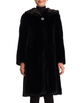 Image 1 of 2: Mink Coat with Hood