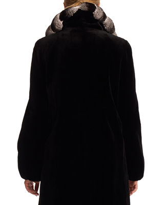 Image 2 of 2: Sheared Mink Fur Stroller Jacket with Chinchilla Fur Collar