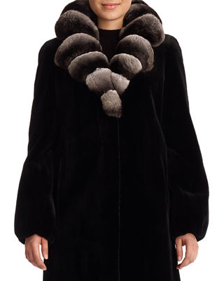 Image 1 of 2: Sheared Mink Fur Stroller Jacket with Chinchilla Fur Collar