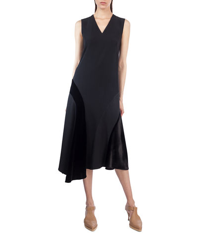 Sleeveless Velvet-Trim Midi Dress