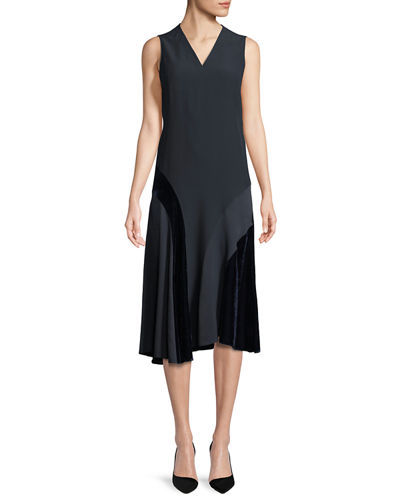 Akris punto Sleeveless Velvet-Trim Midi Dress and Matching