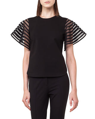 Image 1 of 3: Striped Tulle Wing-Sleeve Top