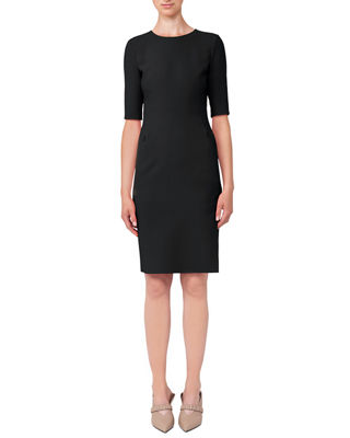 Image 1 of 2: Half-Sleeve Double-Face Wool Dress