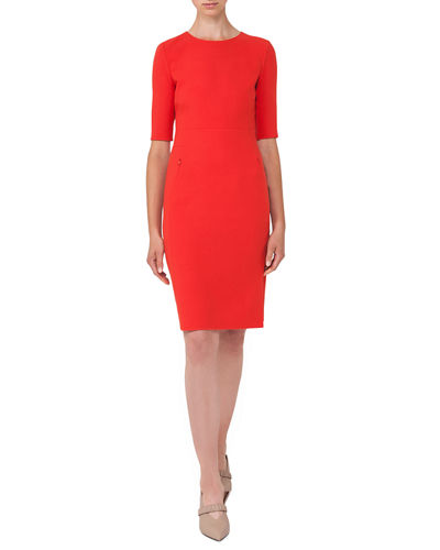 Half-Sleeve Double-Face Wool Dress