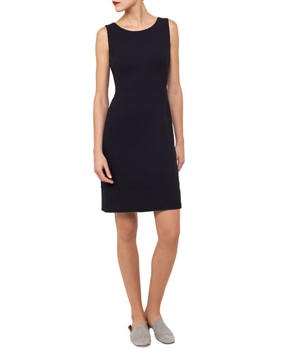 Round-Neck Sleeveless Wool Crepe Sheath Dress