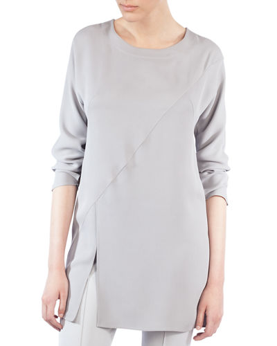 Crewneck Long-Sleeve Asymmetric-Seams Silk-Crepe Tunic