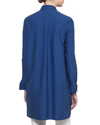 Image 2 of 3: Long Button-Front Cotton Poplin Tunic Blouse
