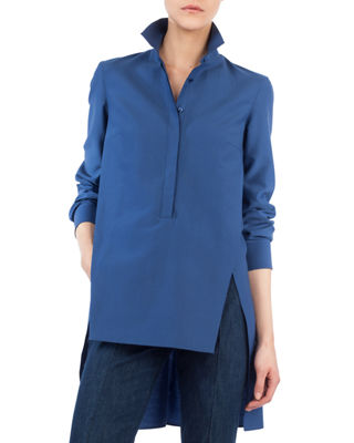 Image 1 of 3: Long Button-Front Cotton Poplin Tunic Blouse
