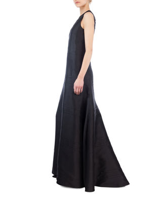 Sleeveless V-Neck Illusion Silk Shantung A-Line Evening Gown