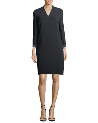 Escada V-Neck Shift Dress with Swarovski Cuffs