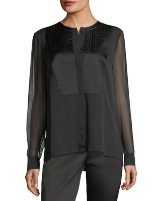 Image 1 of 2: Trapunto-Stitch Silk Shirt