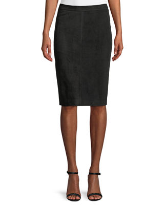 Image 1 of 2: Goat Suede Pencil Skirt