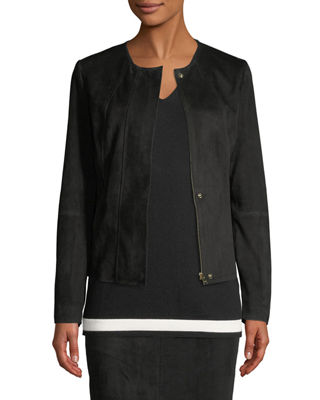 Snap-Front Suede Jacket with Seam Details