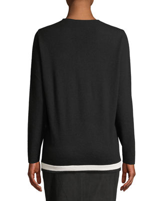 V-Neck Wool-Cashmere Pullover with Contrast Hem