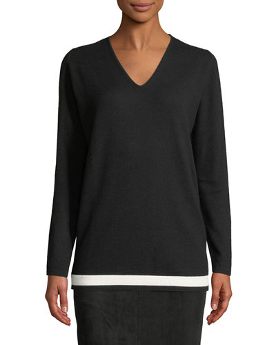 Escada V-Neck Wool-Cashmere Pullover with Contrast Hem and