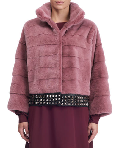 Stud-Trim Mink Fur Coat