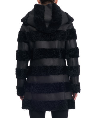 Image 2 of 3: Hooded Leather Jacket with Fur Stripes