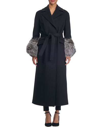 Belted Wool-Blend Wrap Coat with Fur Cuffs