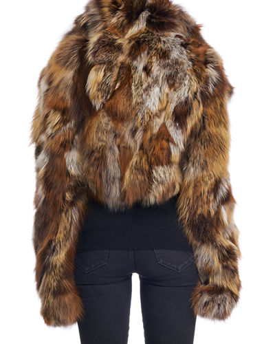Cropped Fox Fur Jacket