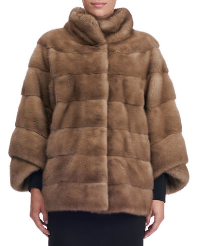 Seamed Mink Fur Short Jacket
