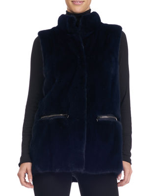 Funnel-Collar Mink Fur Vest with Zip Pockets