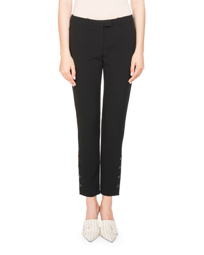 Tristan Cropped Button-Trim Pants