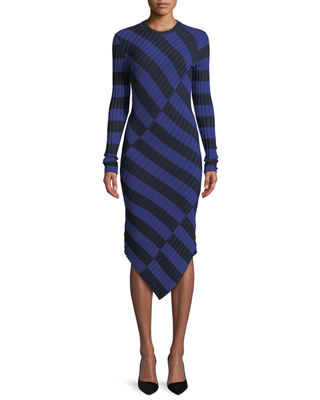 Whistler Asymmetric Wide-Stripe Fitted Knit Dress