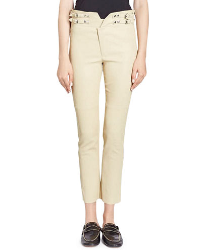 Isabel Marant Preydie Skinny-Leg Lamb Leather Pants with