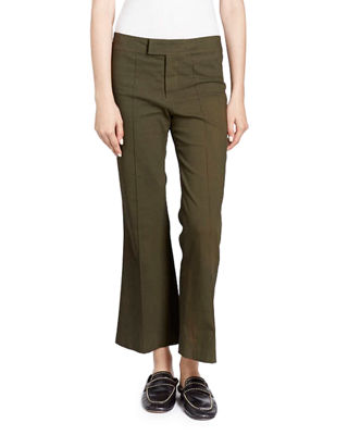 Isabel Marant Flat-Front Flared Crop Cotton-Blend Pants and