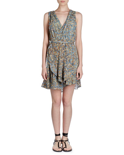 Isabel Marant Fara V-Neck Sleeveless Floral-Burnout Side Wrap