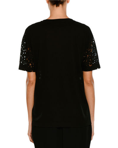 Stella McCartney Short-Sleeve Burnout Stars T-Shirt