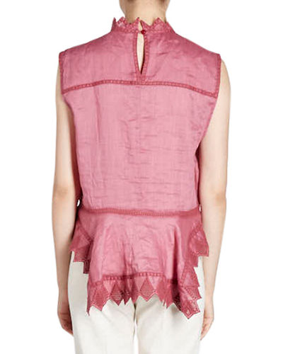 Nust High-Neck Sleeveless Embroidered Blouse