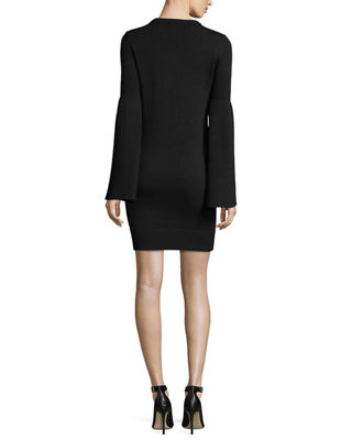 Image 2 of 2: Bell-Sleeve Crewneck Cashmere-Blend Mini Dress