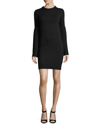 Image 1 of 2: Bell-Sleeve Crewneck Cashmere-Blend Mini Dress