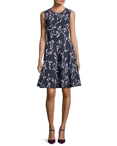 Flower Bud Jacquard Fit and Flare Knit Dress